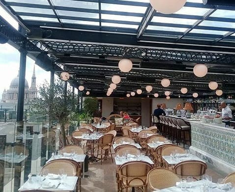 Herschel Aspect XL heaters at The Edge rooftop bar, Soho House, London
